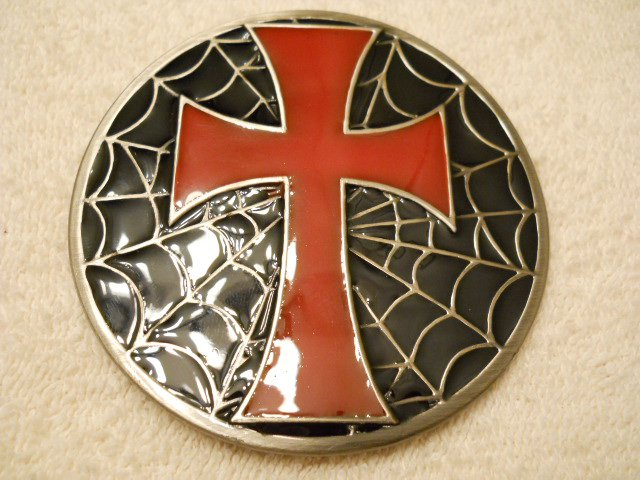 Cross Belt Buckle with Spider Web