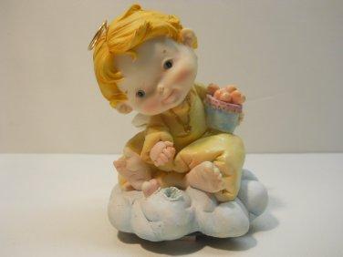 Porcelain Angel Boy on Clouds Musical Figurine Figure #msl134