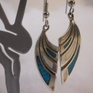 Sterling Silver Turquoise &  White stone Dangle Earrings,  nSS113