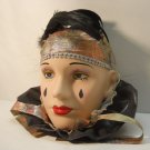 Large Solid Porcelain Fancy Bust Head Mask with Black