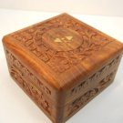 Hand Carved Wood Box  with Brass hearts inlaid