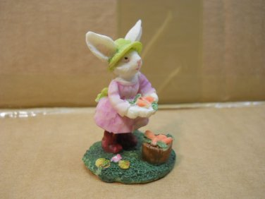 Friendly Bunny Figure with  Carrots, Bunnies Figurine  #fig588