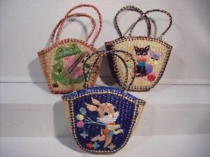 Straw Handbags Frog Kitten Bunny Carrying Bags Hand Made