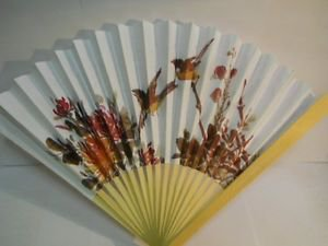 Birds & Floral Flower Design on Paper Hand Fan