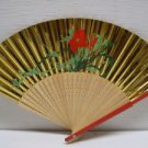 Vintage Asian Hand Painted Gold Floral Hand Folding Fan # 40