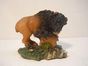 vintage Buffalo with Baby Buffalo Native American Hand painted Figurine  n807