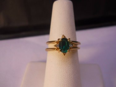14 Kt GP Green Cubic Zirconia Facet Stone Ring Size 7  #FJW517