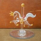Spun Blown Glass Carousel Horse on Mirror Base Horses  #Dctv84