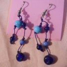 Turquoise with Blue Beaded Earrings  Hand Made  #FJW285
