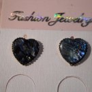 Paula Shell Heart Post Earrings Hand Made  #FJW297