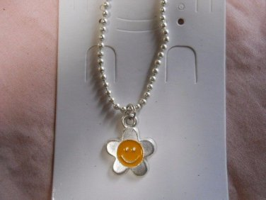 Smiley Sun Necklace with bead Chain  #FJW318