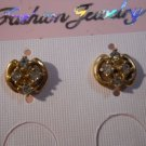 18 Kt GP Post Earrings with Cubic Zirconia Stones Hand Made  #FJW292