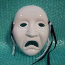 Painted Decorative Porcelain Wall Hanging Mask with Tassels Sad Face Unhappy C/T