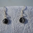 925 Sterling Silver Half Moon Dangle Earrings w/Black Onyx