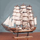 WOOD MODEL SCHOONER ON BASE