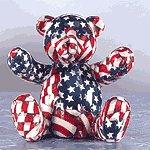USA PATCHWORK TEDDY BEAR BANK