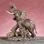 PORC ELEPHANTS HUGGING TRUNKS