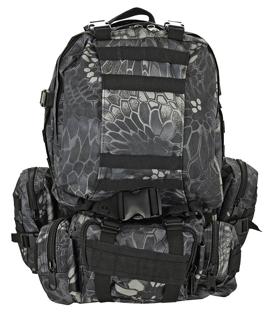 4PC Highland Backpack Bug Out Bag Day Pack Tactical Military Survival Gear Black Mamba Camo