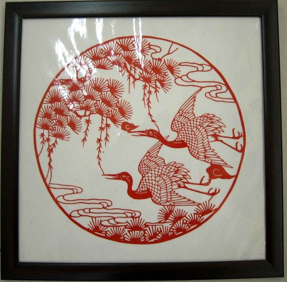 crane paper cut, with frame