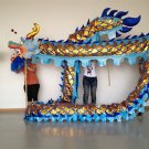 13m Length blue sz5 Gold-plated 10 student Chinese DRAGON DANCE game Folk Festival mascot Costume