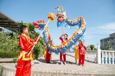 4m Length sz5 blue silk print fabric 4 student Chinese DRAGON DANCE game  Festival mascot Costume