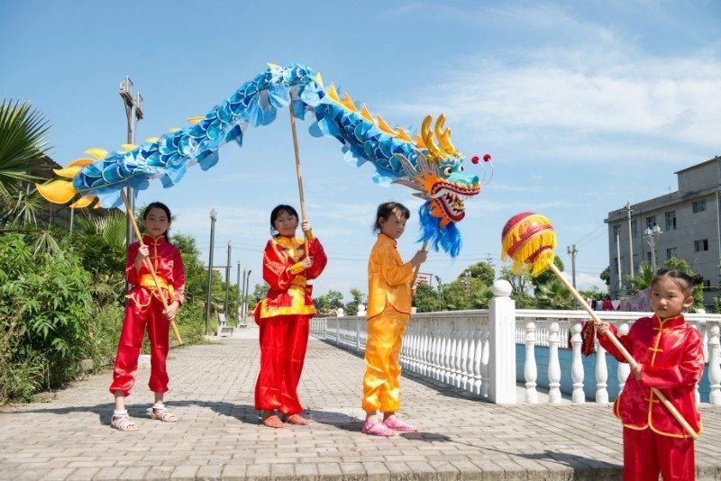 Sale 4m sz5 blue silk fabric 4 student Chinese DRAGON DANCE game  Festival mascot Costume