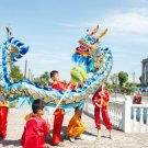 4m Length sz5 blue golden plated 4 student Chinese DRAGON DANCE game  Festival mascot Costume