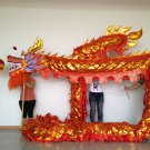 4m Length sz5 red golden plated 4 student Chinese DRAGON DANCE game  Festival mascot Costume