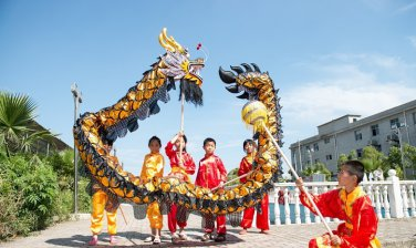 4m Length sz5 black golden plated 4 student Chinese DRAGON DANCE game  Festival mascot Costume