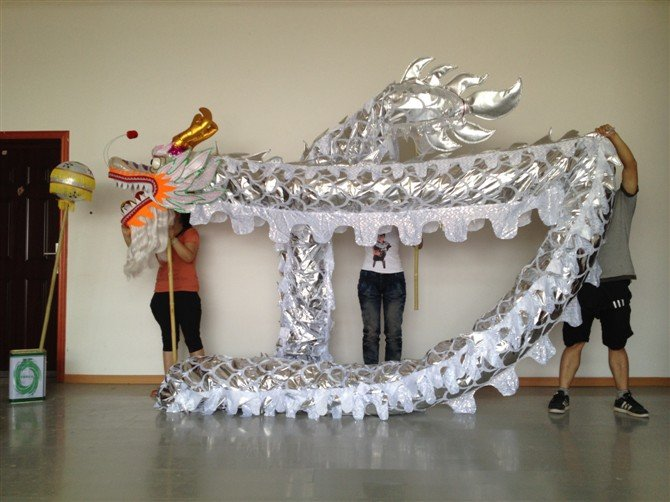 4m Length sz5 sliver golden plated 4 student Chinese DRAGON DANCE game  Festival mascot Costume