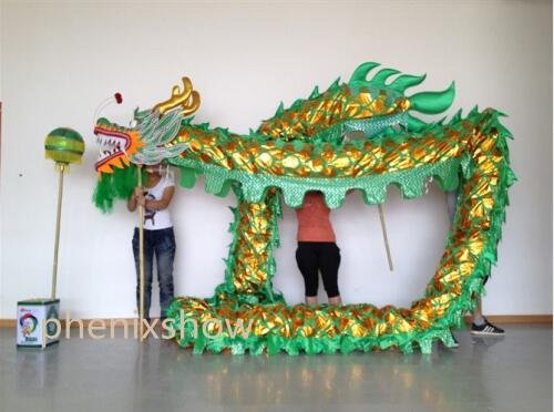 4m Length sz5 green golden plated 4 student Chinese DRAGON DANCE game  Festival mascot Costume
