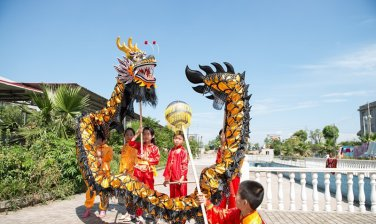 7m Length sz5 black golden plated 6 student Chinese DRAGON DANCE game  Festival mascot Costume