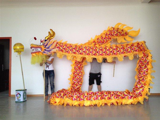 7m Length sz5 yellow silk print fabric  6 student Chinese DRAGON DANCE game  Festival mascot Costume