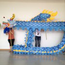 13m Length men sz5# blue silk print fabric 10 student Chinese DRAGON DANCE mascot Costum