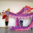 13m sz5# purple men silk print fabric 10 student Chinese DRAGON DANCE Folk Festival mascot Costume