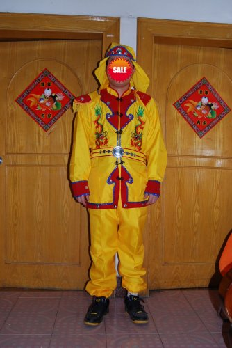 Free ship yellow Chinese Male Costume  Dragon Dance Clothes Lion Dance Folk  Drum Dance festival