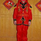 Free ship red Chinese Male Costume  Dragon Dance Clothes Lion Dance Folk  Drum Dance festival
