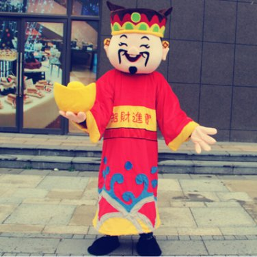 Free ship chinese  the god of wealth Christmas Mascot Costume Cartoon Adult size Festival Party