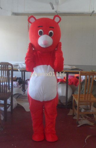 F/S red bear lovely Character mascot costume Christmas Adult size Festival Party