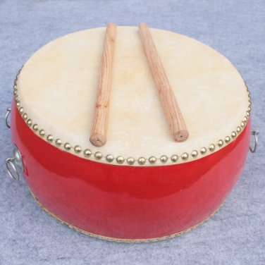 40cm Imposing red drum with Drumsticks Chinese Percussion Musical Cowhide chlidren adult  lion dance