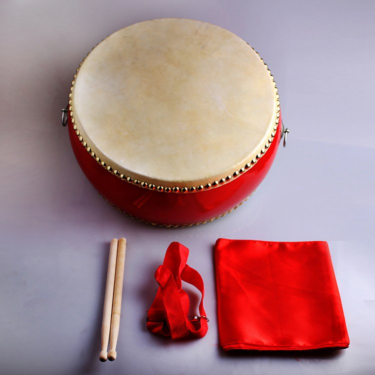 20cm children red drum with Drumsticks Chinese Percussion Musical Cowhide chlidren adult  lion dance