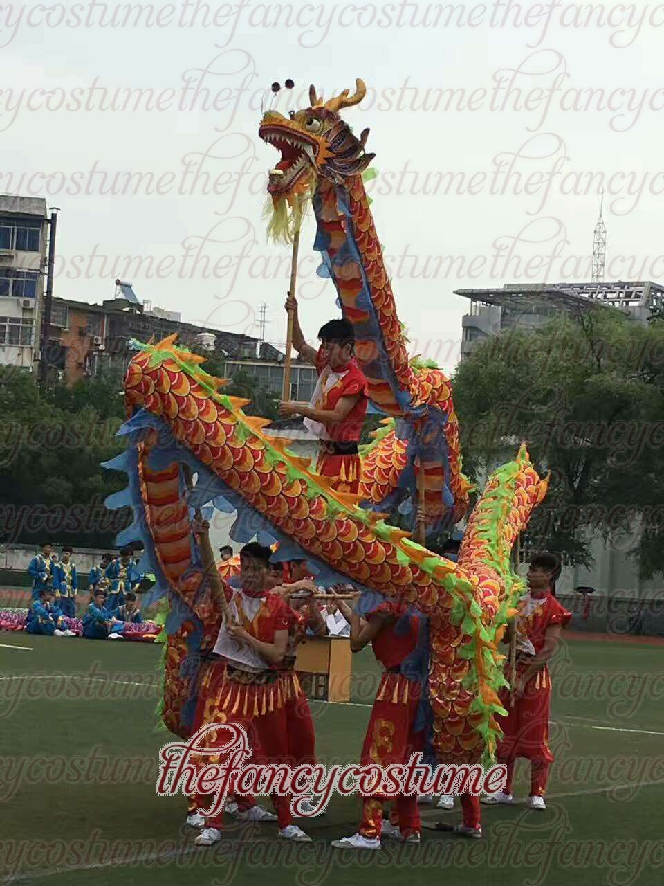 6m size 4 colorful 4 adult silk frabic CHINESE DRAGON DANCE Folk Festival mascot Costume