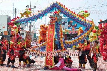 3e49e82bb 6m size 4 blue red 4 adult silk frabic CHINESE DRAGON DANCE Folk Festival  mascot Costume