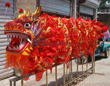 8d76f8030 SALE 14m size 4 red 8 adult silk frabic Decor stage ride CHINESE DRAGON  DANCE Folk Festival Costum