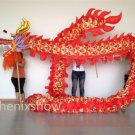13m Length sz5# boy red silk print fabric 10 student Chinese DRAGON DANCE Folk mascot Costume