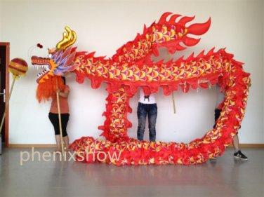 13m Length sz5# boy red silk print fabric 10 student Chinese DRAGON DANCE Folk mascot Costume
