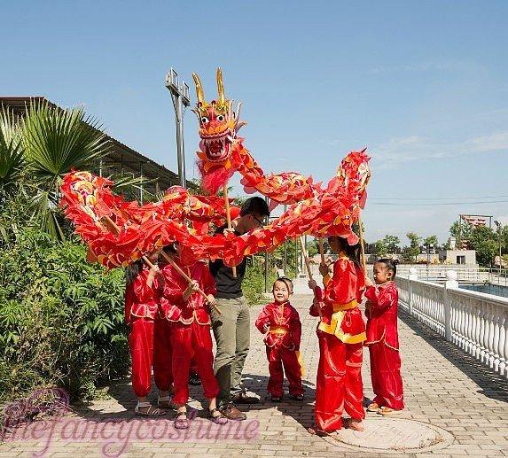 5.5m size 6 # 6 kid  boy size red silk CHINESE DRAGON DANCE  Folk Festival Celebration Costume 4 kid