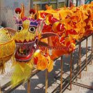 15.1m size 6 # 14 kid boy yellow silk CHINESE DRAGON DANCE Folk Festival Celebration Costume 4 kid