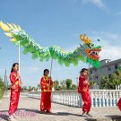 15.1m size 6 # 14 kid boy green silk CHINESE DRAGON DANCE Folk Festival Celebration Costume 4 kid
