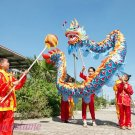10.3m size 6 # 10 kid boy blue red silk CHINESE DRAGON DANCE Folk Festival Celebration Costume